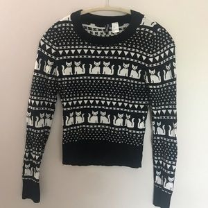 Adorable Cropped Cat Sweater | Size 4